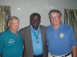 Francis Yawson (center) with BSF Board Chair Steve Shellenberger (left) and Dr. Robert Davis, Vice Chair and Head of BSF Surgical Team.